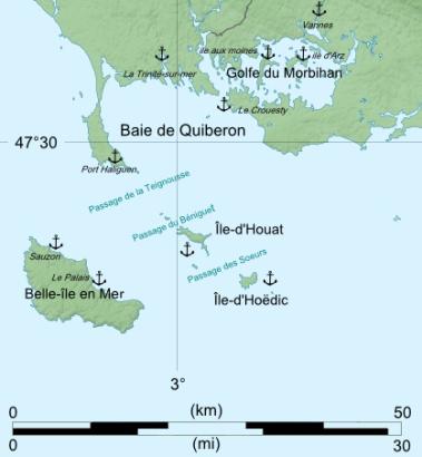 Carte Baie de Quiberon -Belle-ile